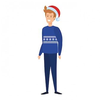 Homem jovem, com, natal, suéter, e, chapéu