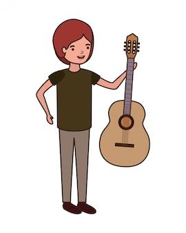 Homem jovem, com, personagem violão
