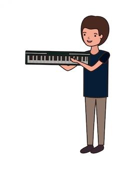 Homem jovem, com, teclado piano, personagem