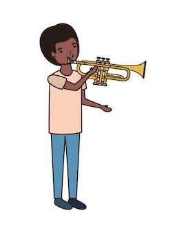 Homem jovem, com, trompete, personagem