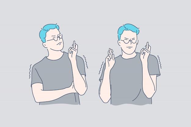 Homem jovem, dedos cruzando