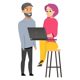 Homem jovem, e, mulher, trabalhando, laptop