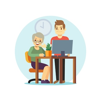 Homem jovem, e, mulher velha, computador