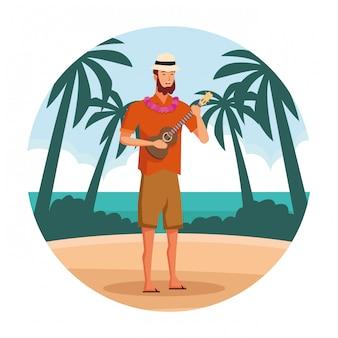 Homem jovem, em, praia, caricatura