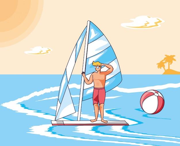 Homem jovem, em, surfboard, em, mar, verão, cena
