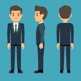 Homem jovem em três pontos de vista