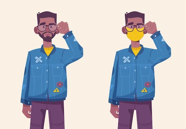 Homem jovem hippie usando protetor médico com e sem máscara. ilustração em vetor personagem de pessoa isolada moderna