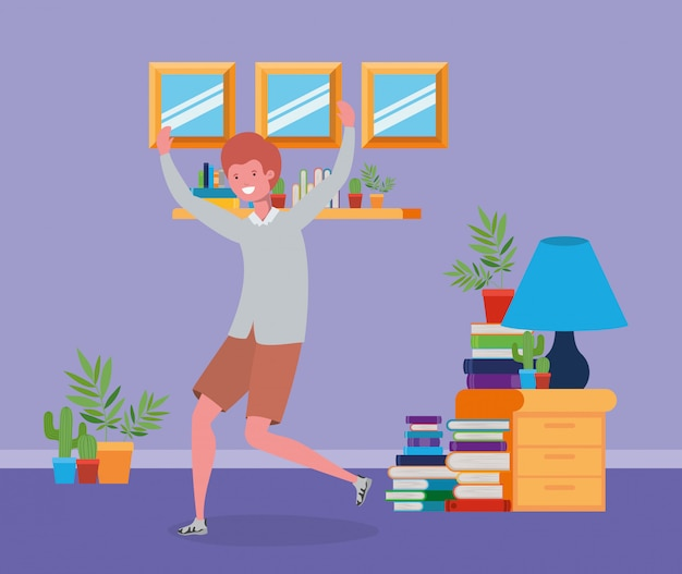Homem jovem, pular, em, a, livingroom