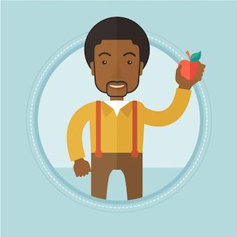 Homem jovem, segurando, maçã