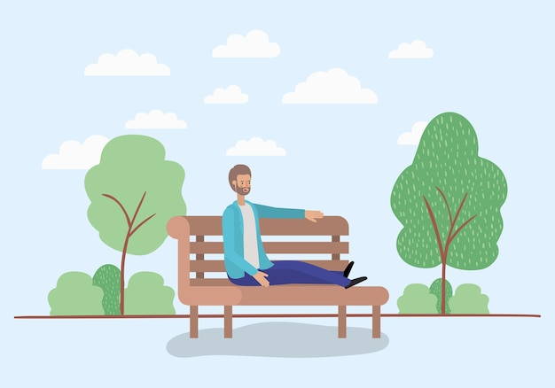 Homem jovem, sentando, ligado, cadeira parque