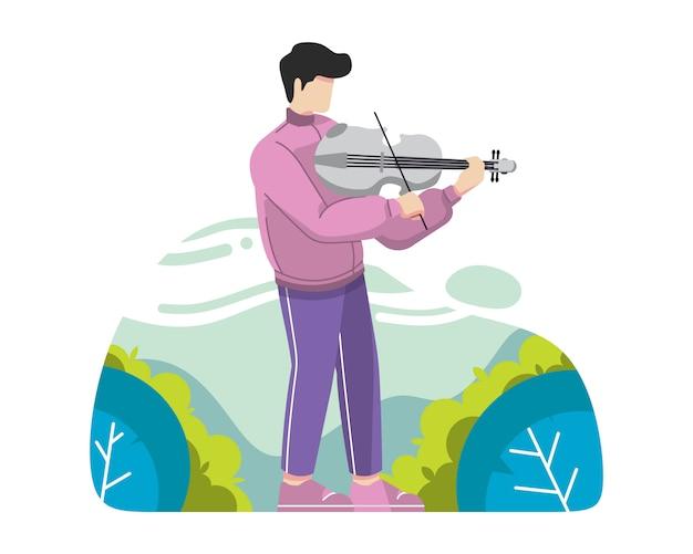 Homem jovem, tocando, violino, vetorial, ilustração