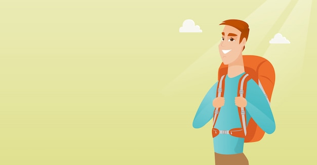 Homem jovem viajante caucasiano com uma mochila