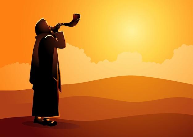 Homem judeu soprando o shofar