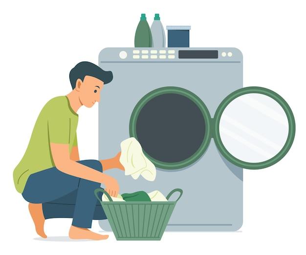 Homem lava a roupa com máquina de lavar