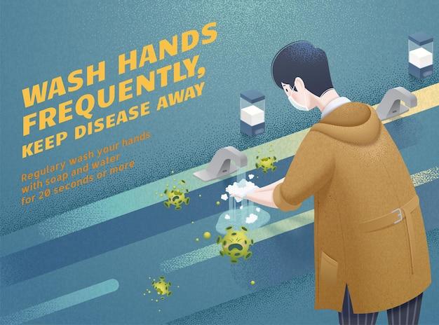 Homem lavando as mãos com frequência