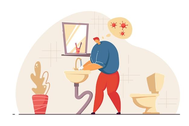 Homem lavando as mãos no banheiro. personagem de desenho animado masculino pensando em obter a ilustração vetorial plana de vírus. higiene das mãos, conceito de prevenção de coronavírus para banner, design de site ou página de destino