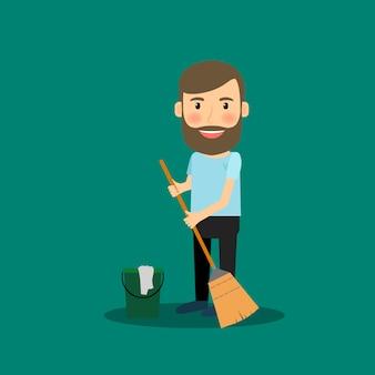 Homem, lavando chão