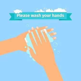 Homem, lavando mãos