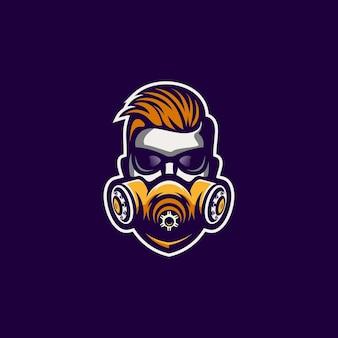 Homem legal com design de máscara de logotipo