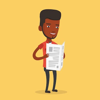 Homem lendo ilustração de jornal.