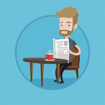 Homem lendo jornal e bebendo café.