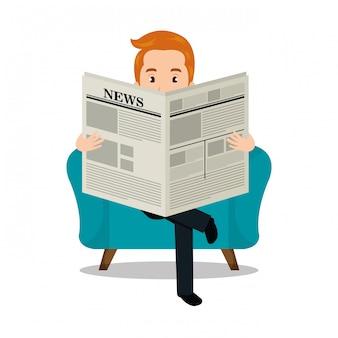 Homem lendo jornal ícone