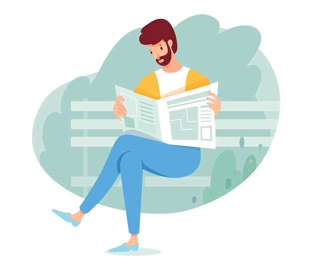 Homem lendo jornal no banco do parque