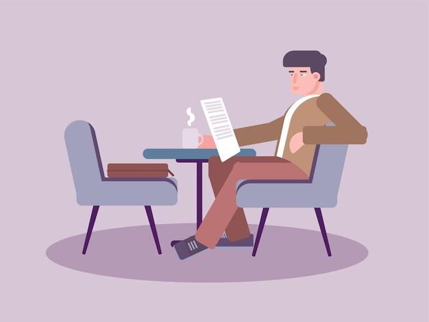 Homem lendo jornal no café, cavalheiro sentado na cadeira lendo jornal