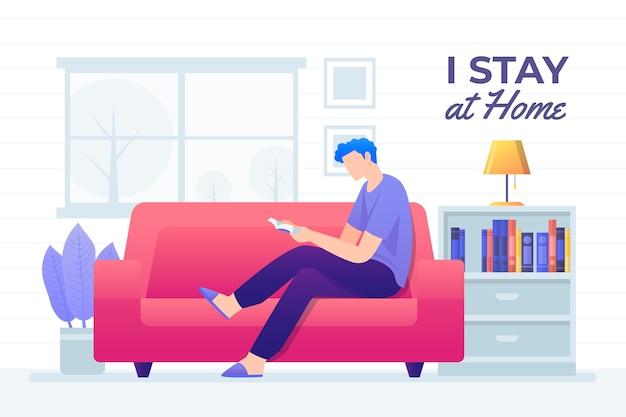 Homem lendo na ilustração do sofá