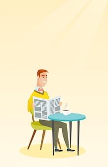 Homem lendo um jornal e bebendo café.
