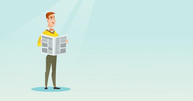 Homem, lendo um jornal