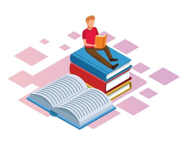 Homem lendo um livro na pilha de livros sobre fundo branco, colorido isométrico