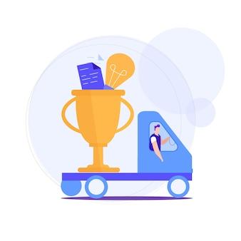 Homem leva em prêmios de caminhão para uma idéia bem sucedida.