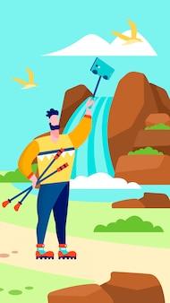Homem, levando, selfie, ligado, cachoeira, viajando, vlog, página