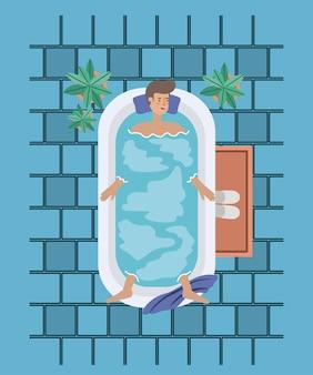 Homem, levando, um, banheira, banheira, vetorial, ilustração, desenho