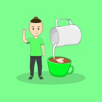 Homem levanta a mão com desenho de jarro de leite