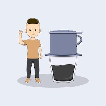 Homem levanta a mão com design vietnam drip coffe