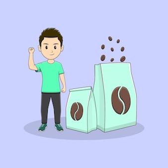 Homem levanta a mão com um pacote de design de café