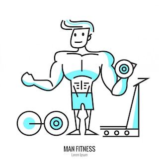 Homem levantando um haltere, barbell com vestuário de fitness dentro da academia