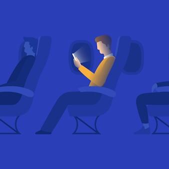 Homem, ligado, avião, cabana, ilustração