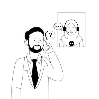 Homem ligando para o atendimento ao cliente para reclamar