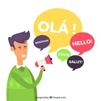 Homem liso com palavras em diferentes idiomas