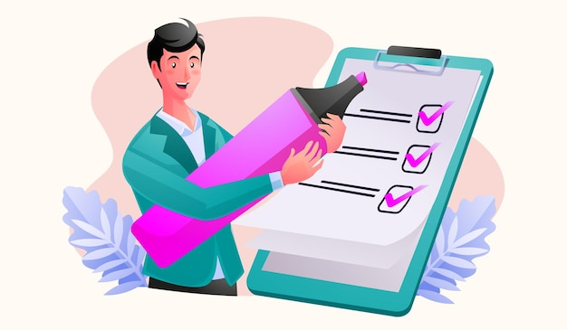 Homem lista de verificação completa na prancheta e na papelada
