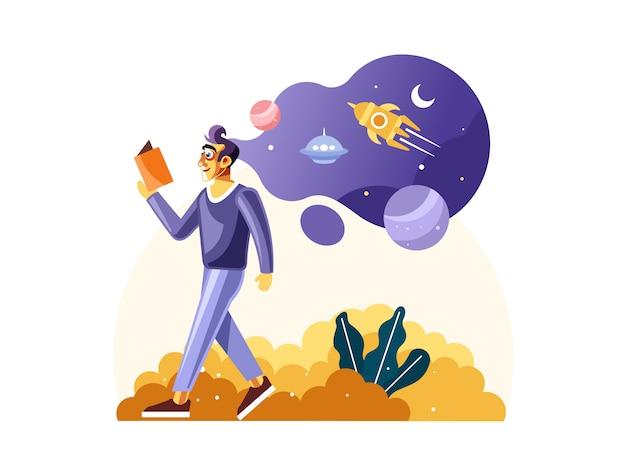 Homem, livro leitura, sobre, cheio, de, ciência espacial