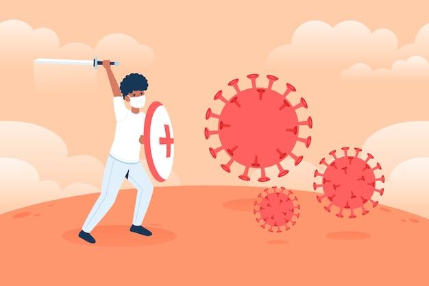Homem luta contra o conceito de vírus com espada