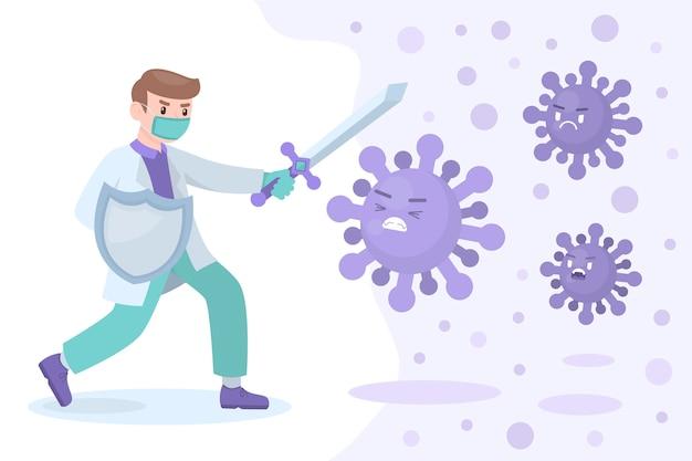 Homem luta contra o conceito de vírus