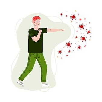 Homem lutando com ilustração dos desenhos animados de vírus e bactérias