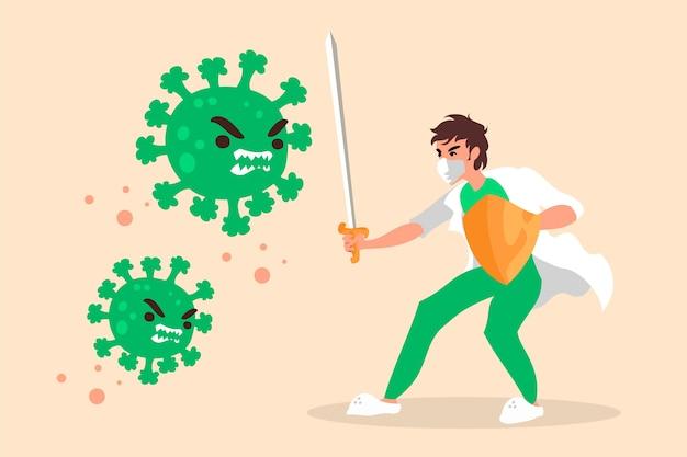 Homem lutando contra o conceito de vírus