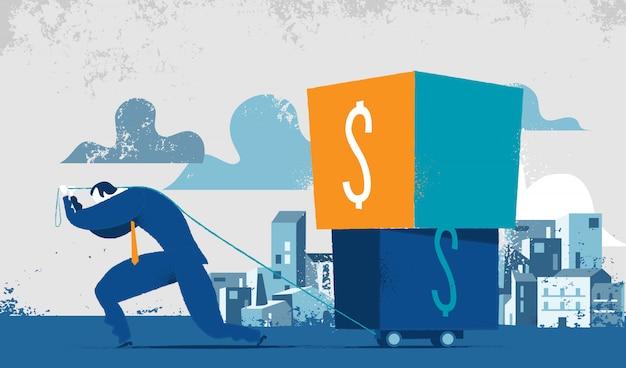 Homem lutando para carregar caixas pesadas com um cifrão. conceito de ponderação de impostos, dívidas financeiras, pagamento de créditos