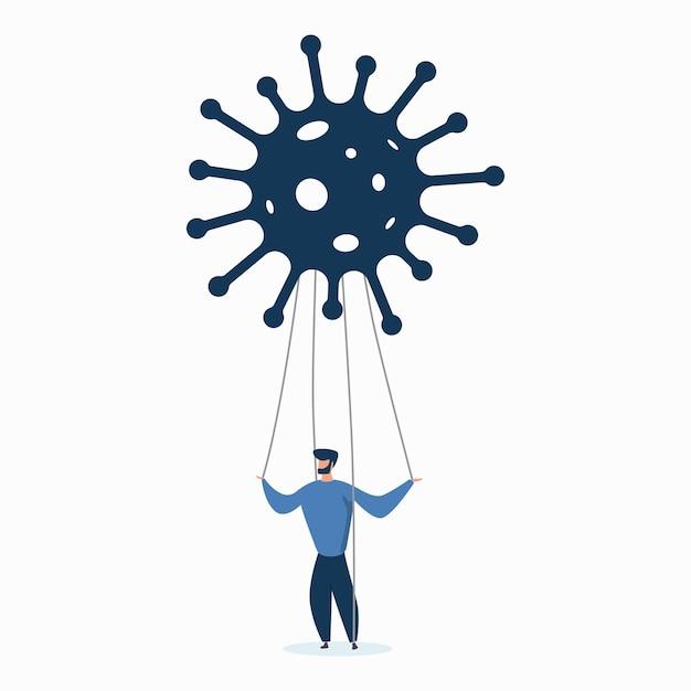 Homem marionete coronavírus